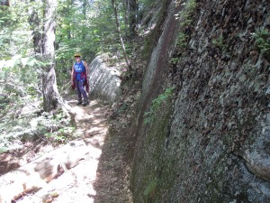 Coon Mountain Trail has lots of rocks and cliffs.