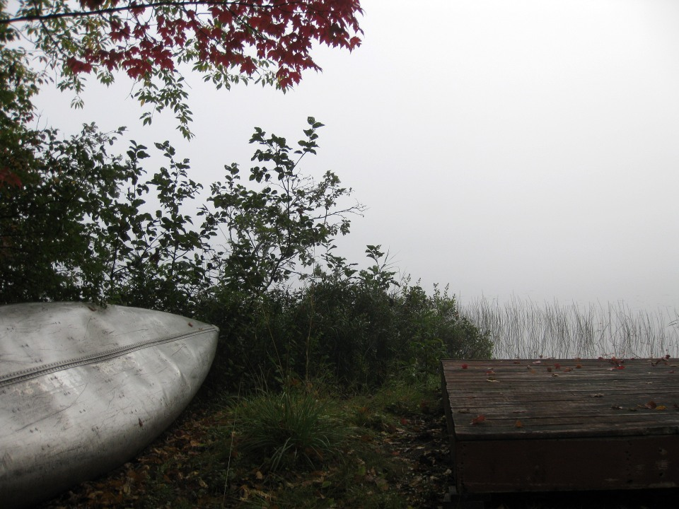 A foggy late-summer morning on Chateaugay Lake.