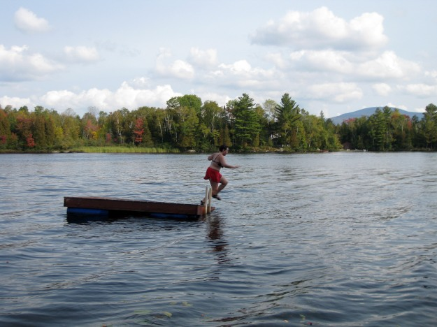 Last late-summer swim at Chateaugay Lake.